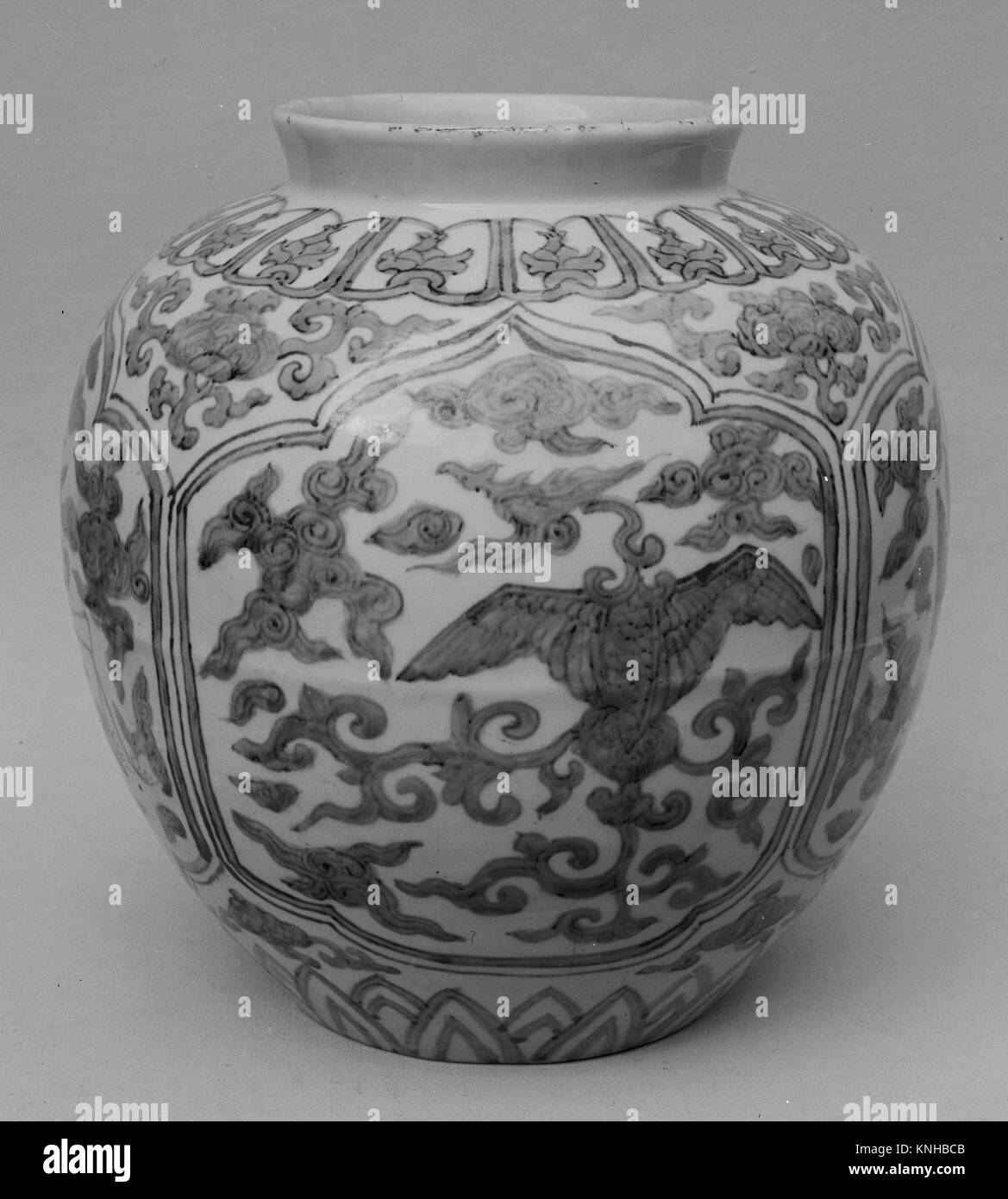 Jar. Period: Ming dynasty (1368-1644), Jiajing period (1522-66); Culture: China; Medium: Porcelain; Dimensions: - Stock Image