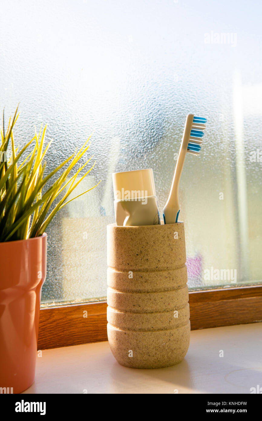Tooth Brush and toothpaste - Stock Image