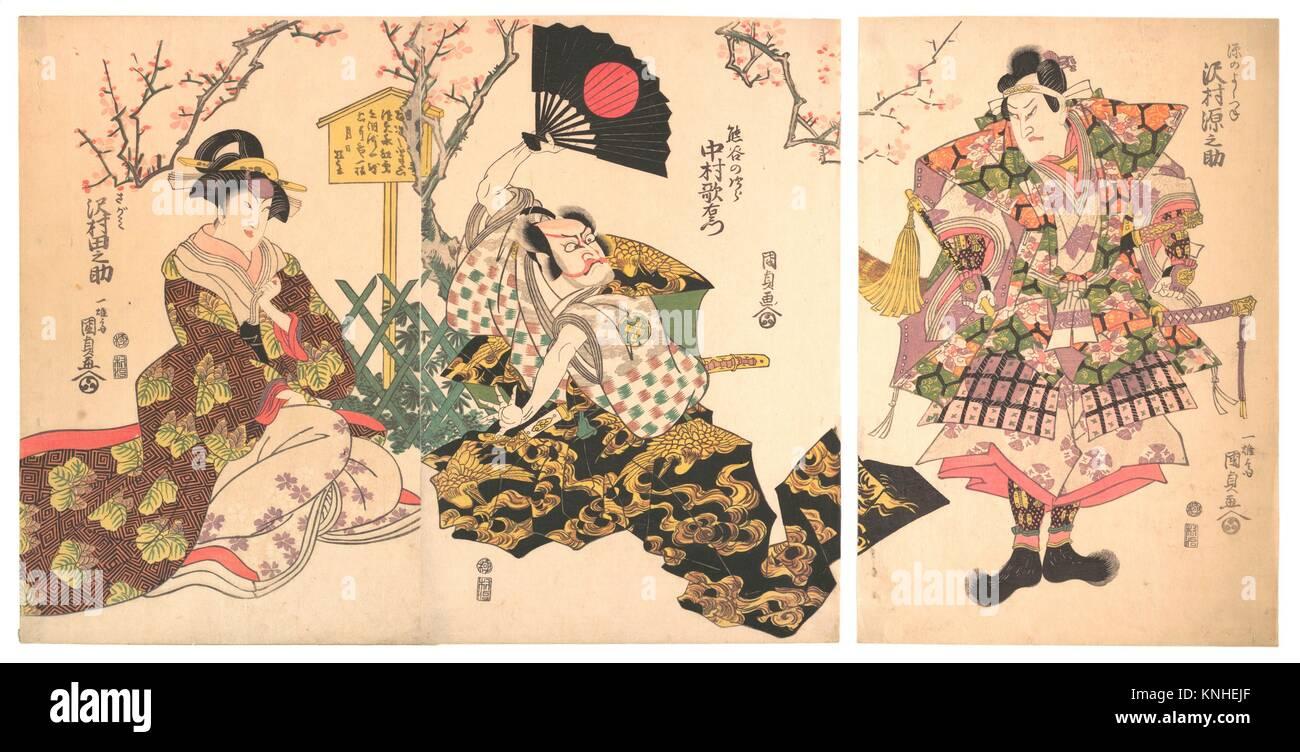 Kabuki Scene at Kumagai's Camp, from the play The Chronicle of the Battle of Ichinotani (Ichinotani futaba gunki). - Stock Image