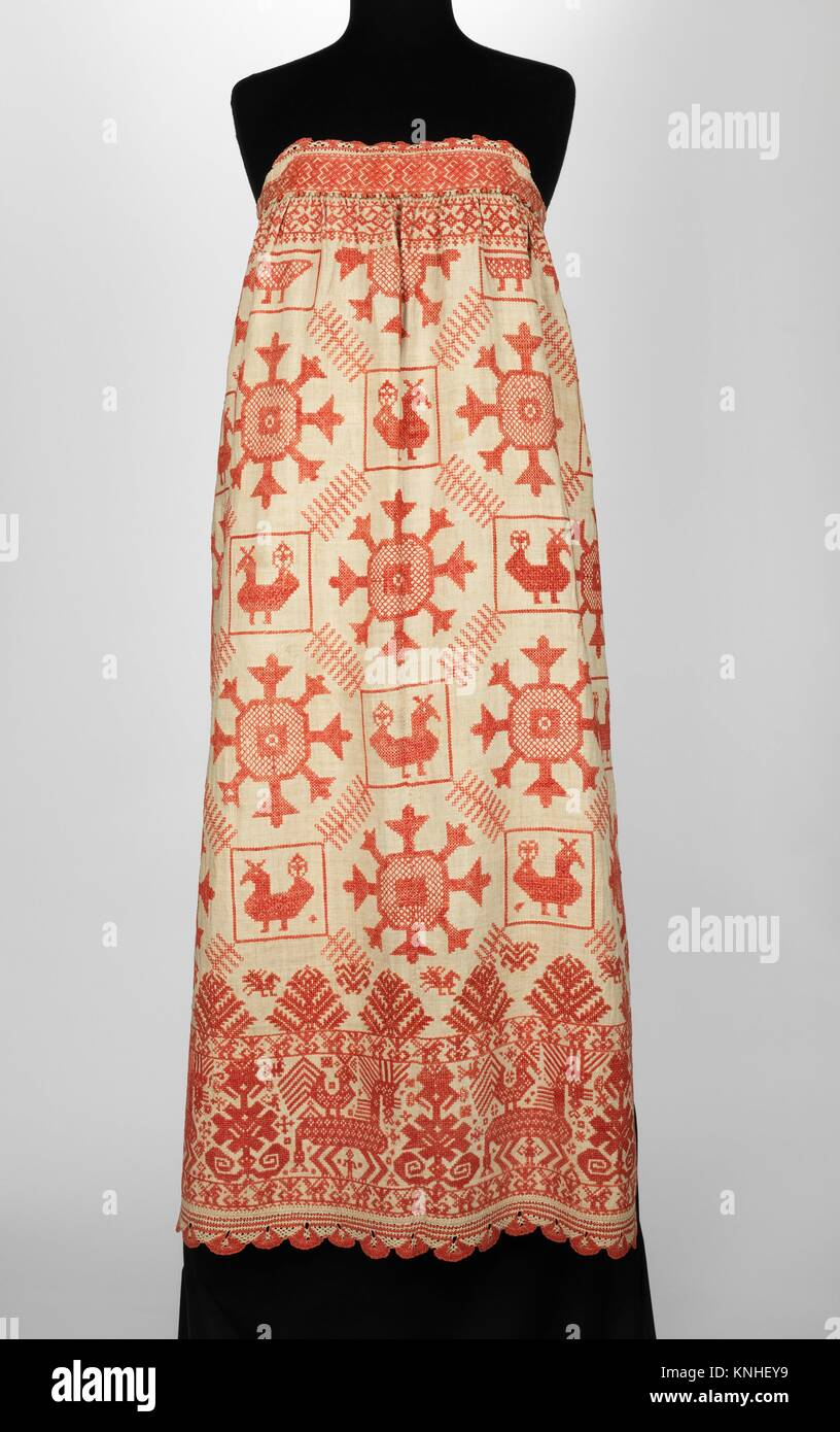 Apron. Date: 1830-70; Culture: Russian; Medium: linen; Credit Line: Brooklyn Museum Costume Collection at the museum, Stock Photo