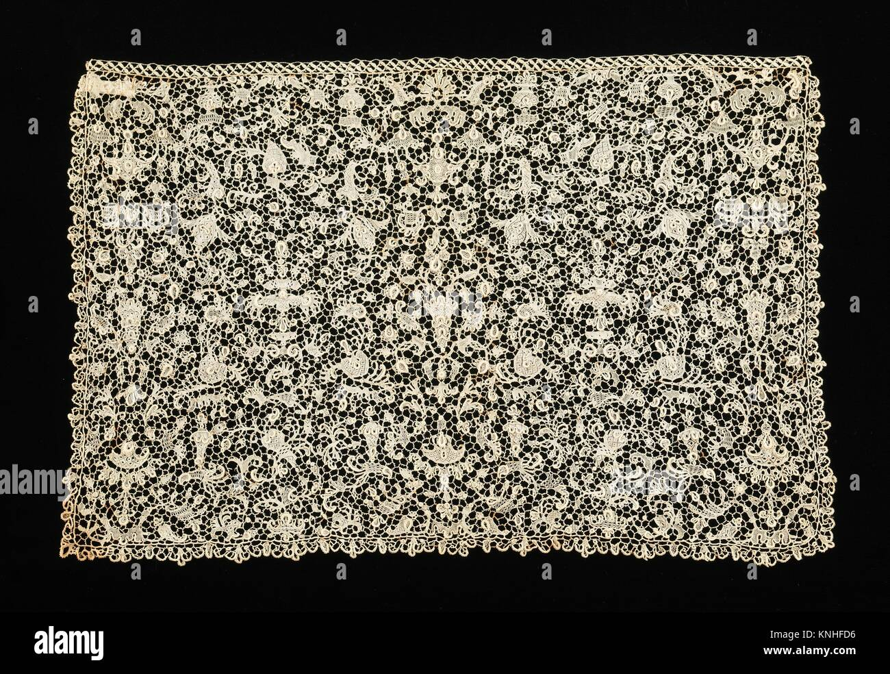Lace. Date: fourth quarter 17th century; Culture: French; Medium: linen; Credit Line: Brooklyn Museum Costume Collection Stock Photo