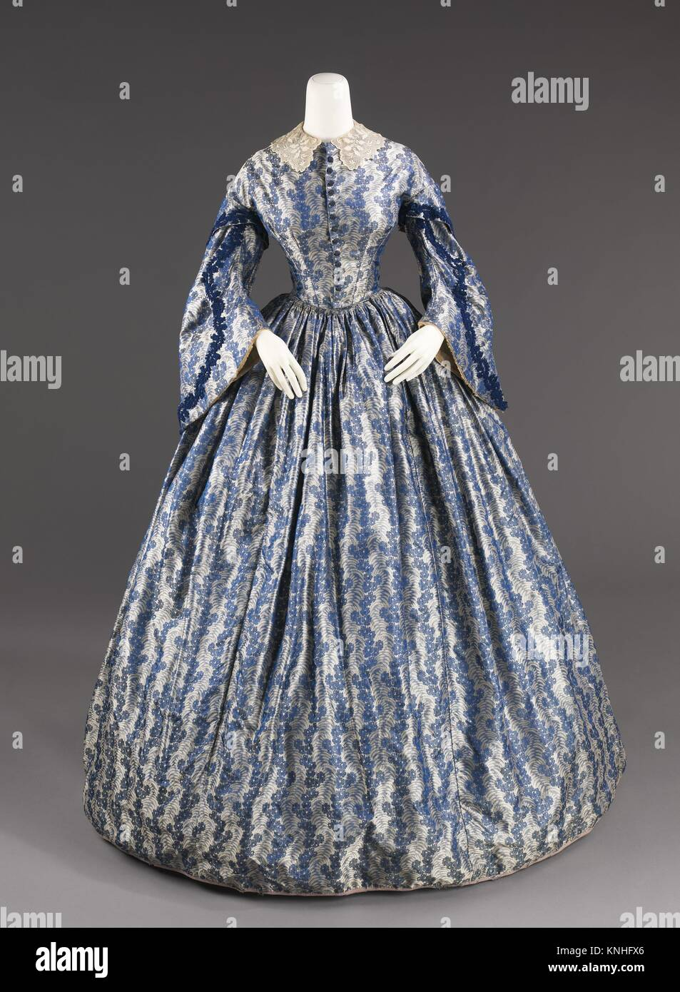 1860; Culture American; Medium silk cotton; Credit Line Brooklyn Museum Costume Collection at The Metropolitan Museum of & Wedding dress. Date: ca. 1860; Culture: American; Medium: silk Stock ...