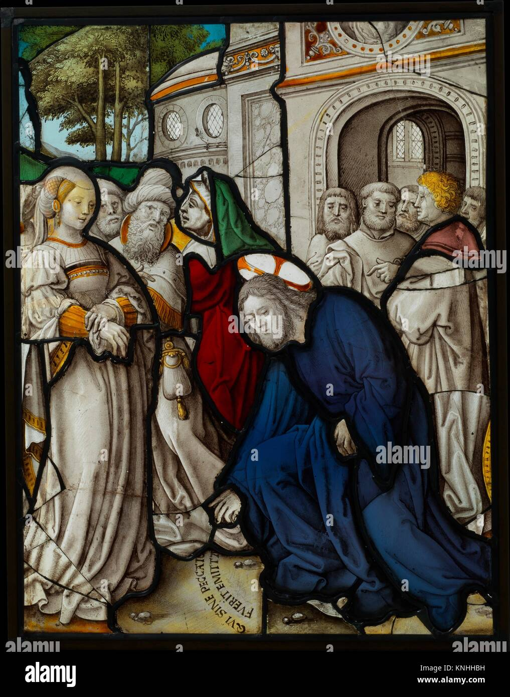 Christ and the Woman Taken in Adultery (one of a set of 12 scenes from The Life of Christ). Maker: Jan Rombouts - Stock Image