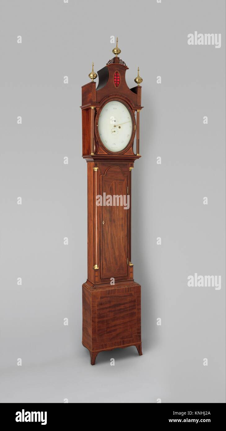 Longcase clock. Maker: Clockmaker: Thomas Dickenson (British, recorded 1790-1828); Maker: Case maker: possibly James - Stock Image