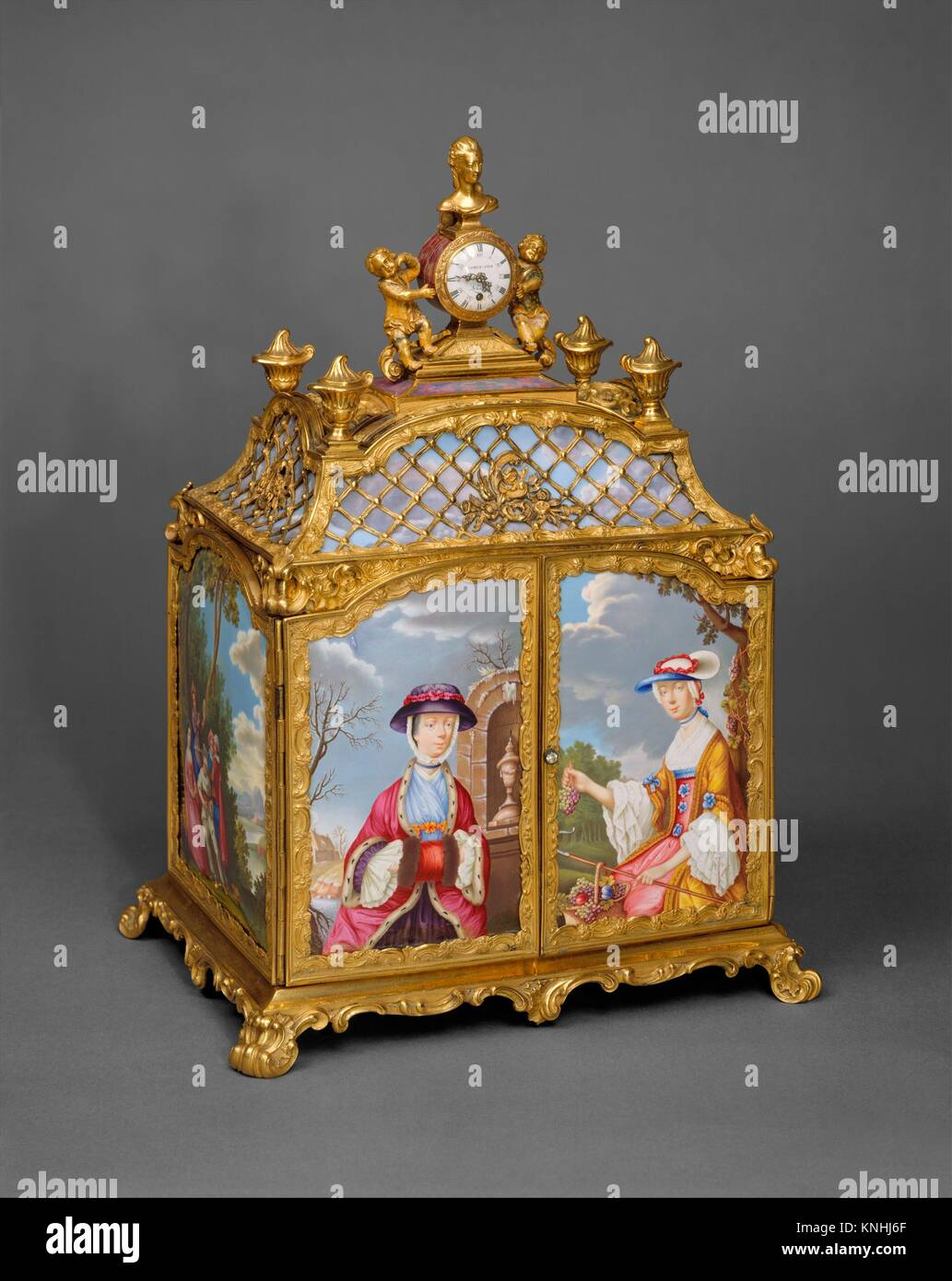 Jewel cabinet with watch. Purveyor: James Cox (British, ca. 1723-1800); Artist: After a design by Antoine Watteau - Stock Image