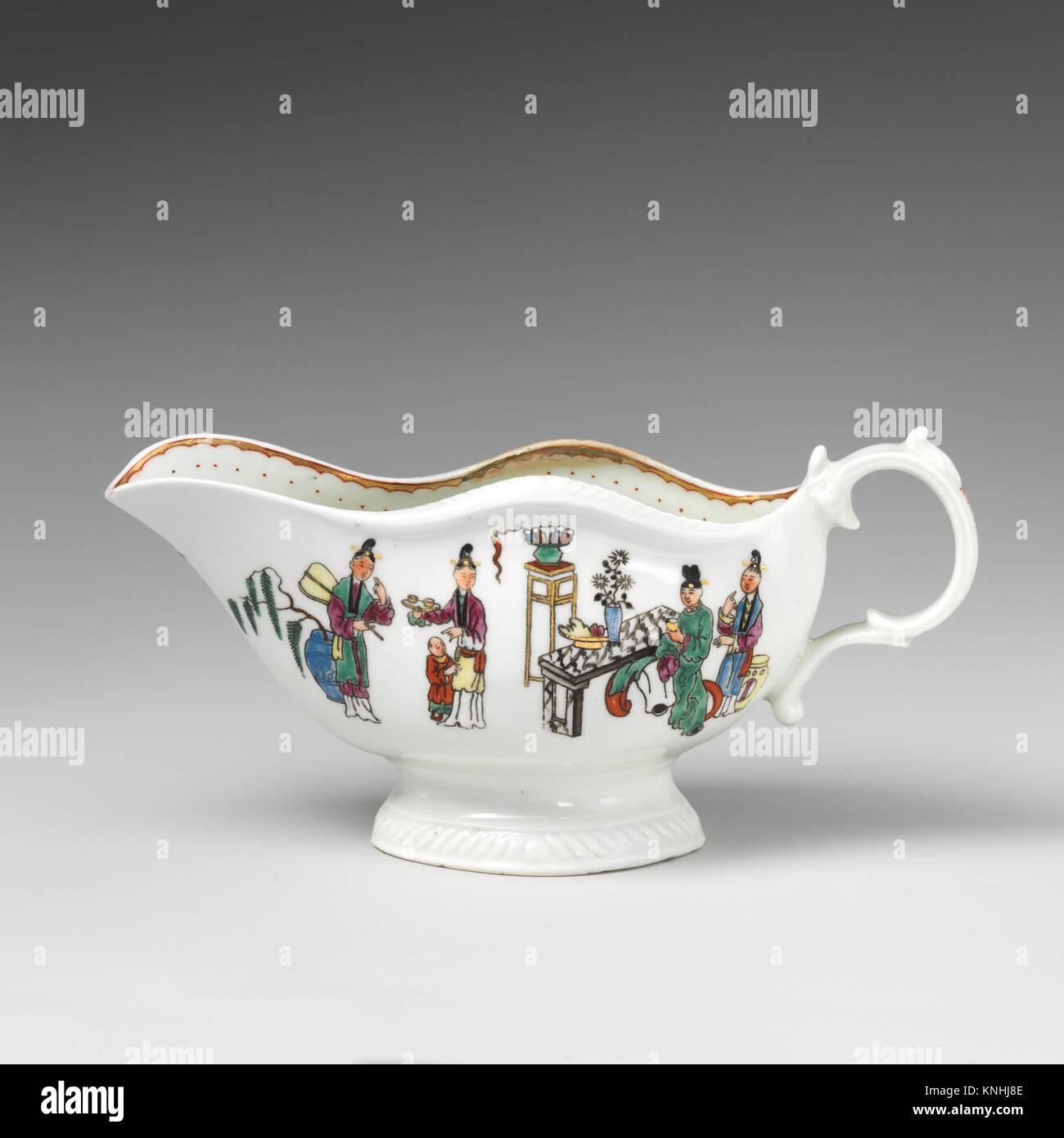 Sauceboat. Factory: Worcester; Date: 18th century; Culture: British, Worcester; Medium: Soft-paste porcelain; Dimensions: - Stock Image
