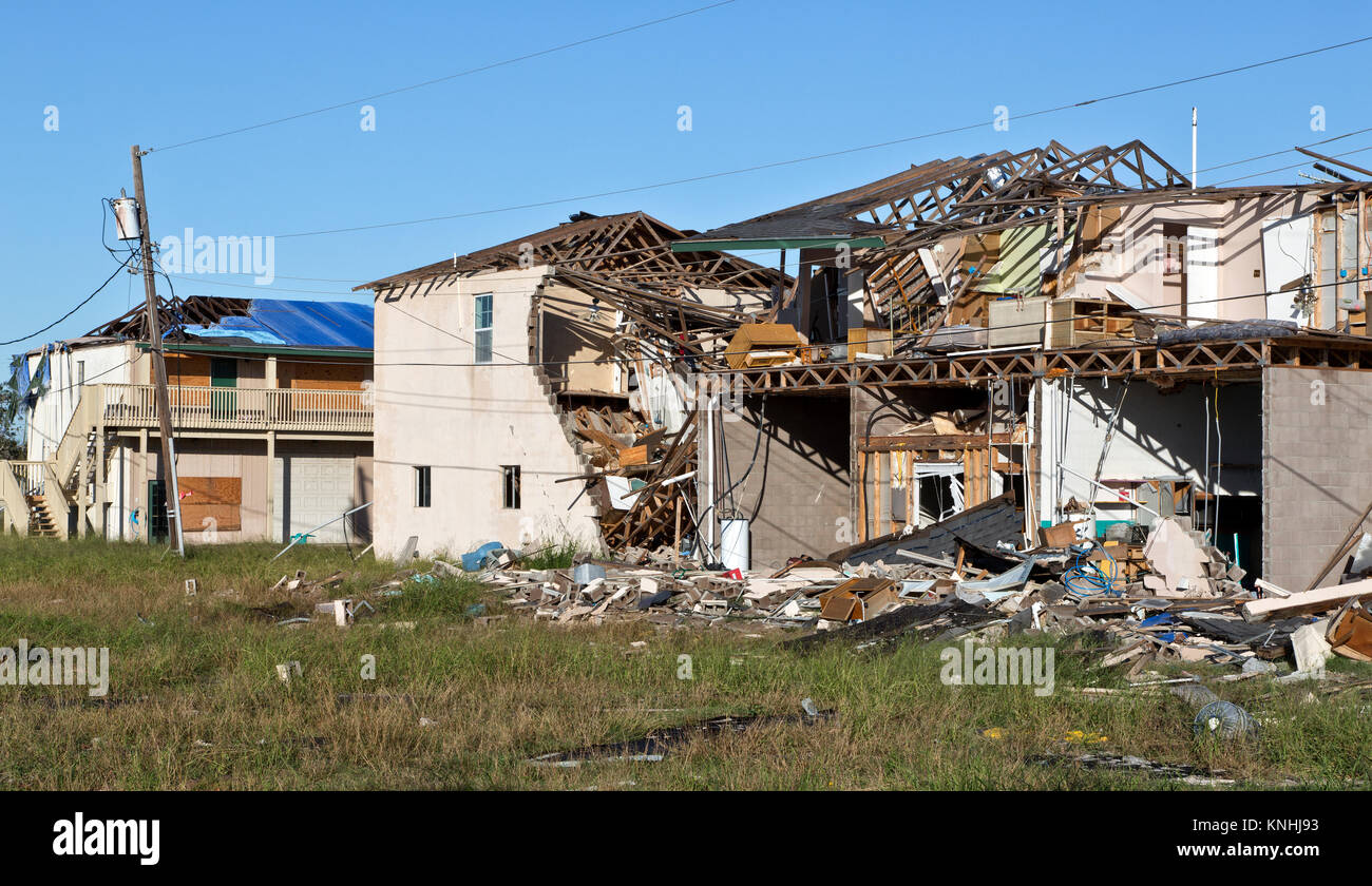 Hurricane Harvey 2017 destruction, apartment complex consisting of several structures. - Stock Image