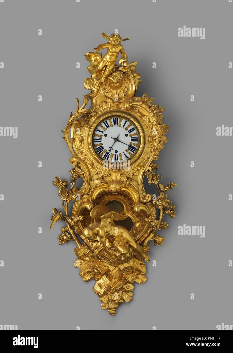 Wall clock (pendule en cartel). Maker: Clock maker: Jean Godde l'aîné (French, ca. 1668-1748/49); - Stock Image