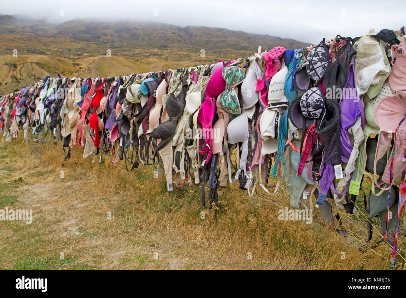 The Bra Fence at Cardrona - Stock Image