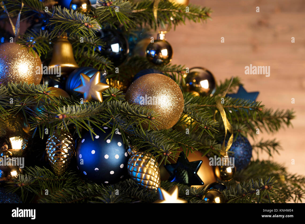 Christmas Decorations In Blue And Gold Aesthetics Rustic