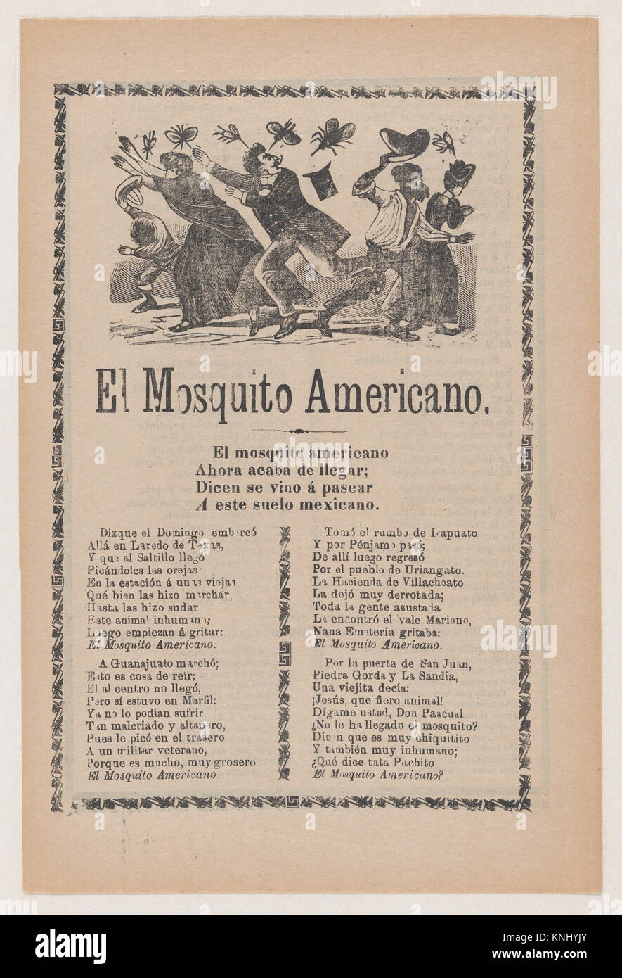 Broadsheet relating to the American Mosquito with verse critical of U.S. imperialism MET DP867939 717846 Artist: - Stock Image