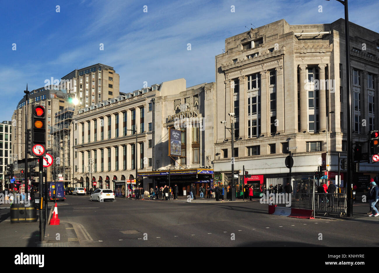 Tottenham Court Road corner with Oxford Street, London, England, UK - Stock Image