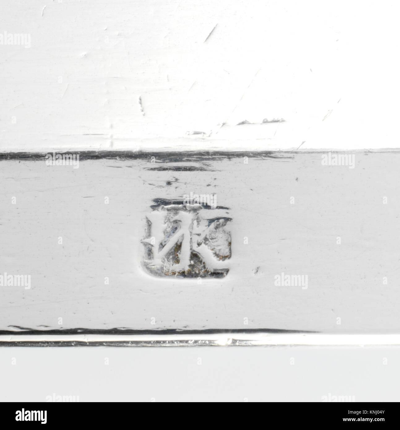 Covered Porringer MET DP160405 2439 Maker: Marked by INK or IVK, Covered Porringer, 1700?20, Silver, Overall: 4 - Stock Image