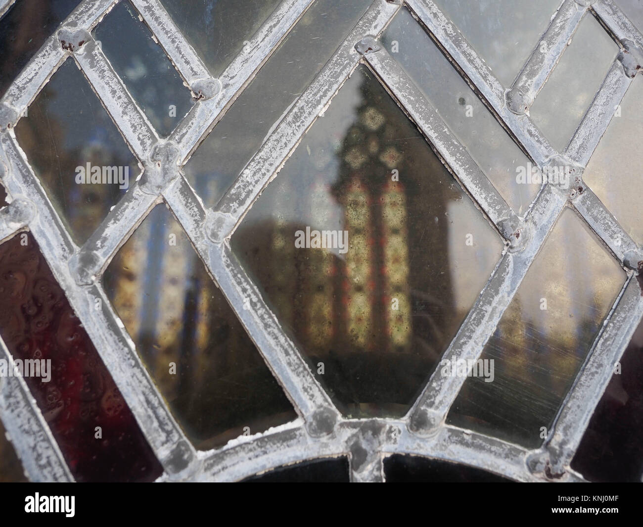LEAD LIGHT  GLASS WINDOW FITTED IN THE  LANTERN, ELY CATHEDRAL, CAMBRIDGESHIRE - Stock Image