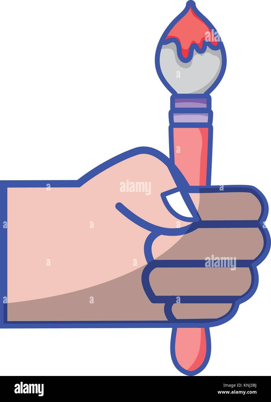 hand with painbrush art tool design Stock Vector