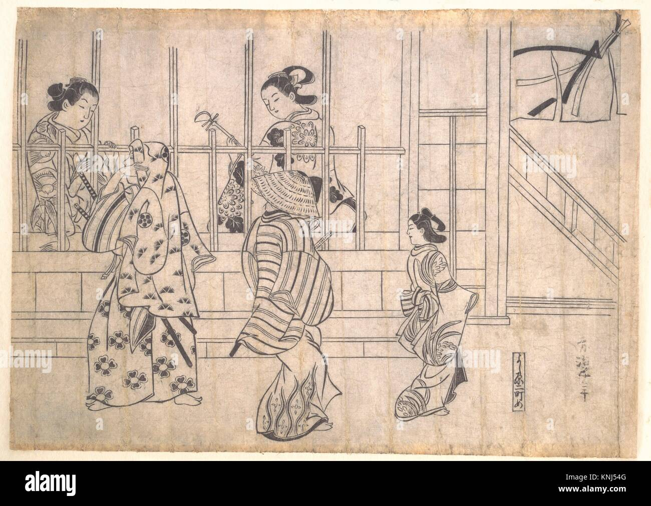 Street Scene in Yoshiwara. Artist: Hishikawa Moronobu (Japanese, died 1694); Period: Edo period (1615-1868); Date: - Stock Image