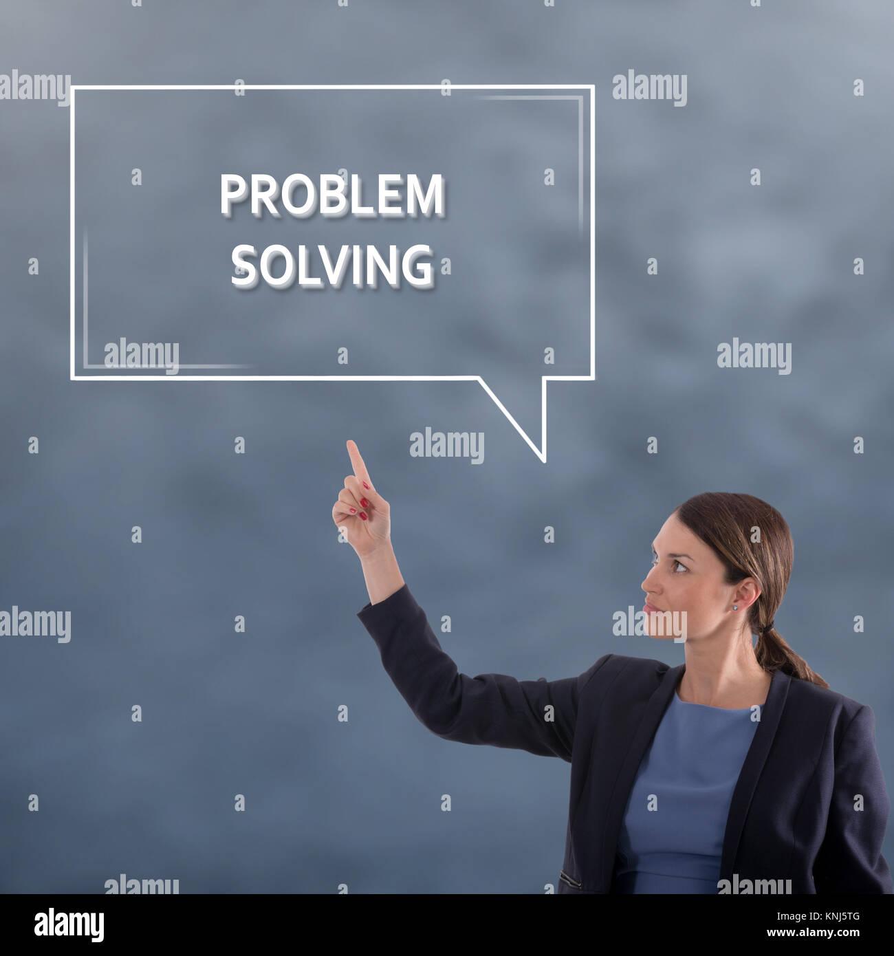PROBLEM SOLVING Business Concept. Business Woman Graphic Concept - Stock Image