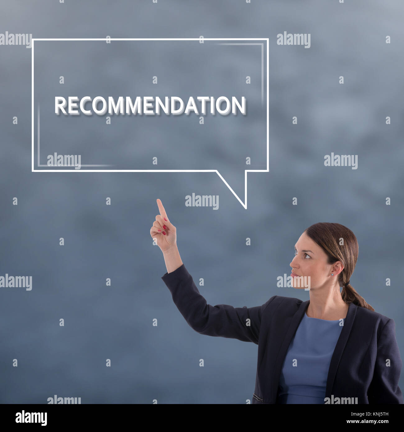 RECOMMENDATION Business Concept. Business Woman Graphic Concept - Stock Image
