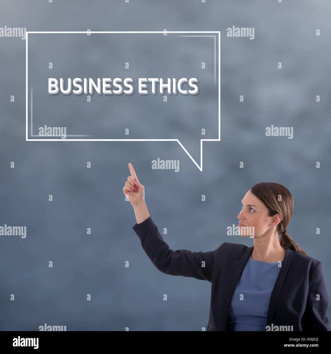 BUSINESS ETHICS Business Concept. Business Woman Graphic Concept - Stock Image