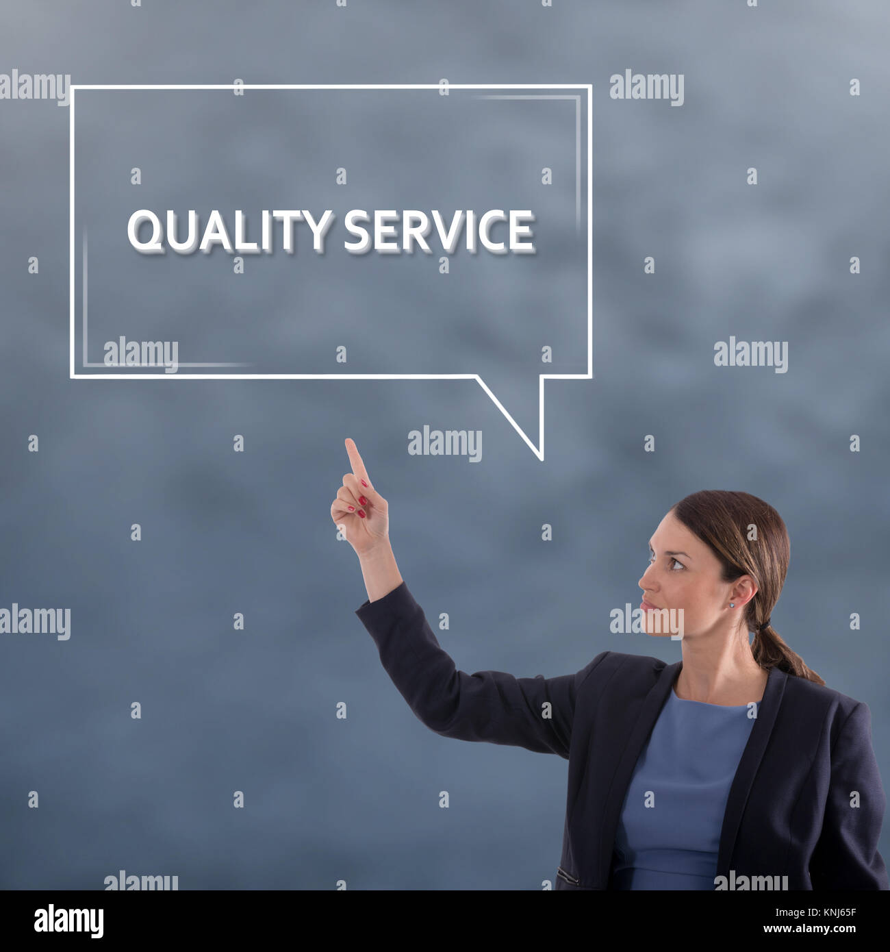 QUALITY SERVICE Business Concept. Business Woman Graphic Concept - Stock Image