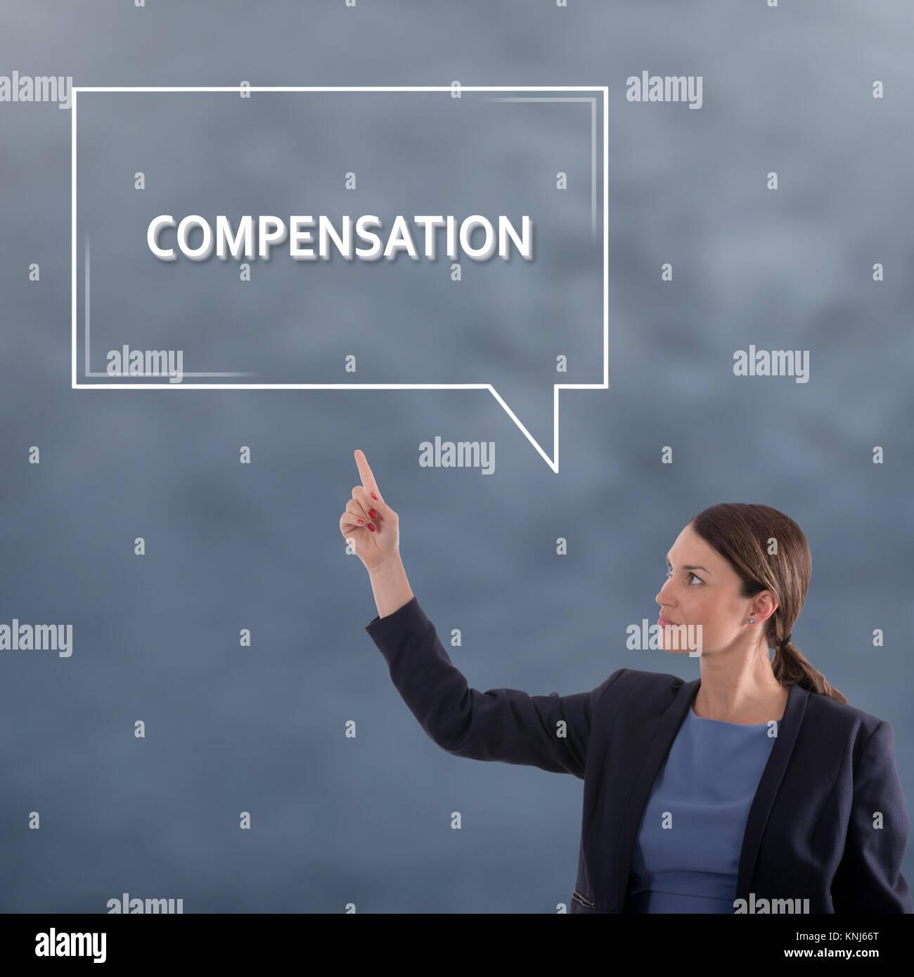 COMPENSATION Business Concept. Business Woman Graphic Concept - Stock Image