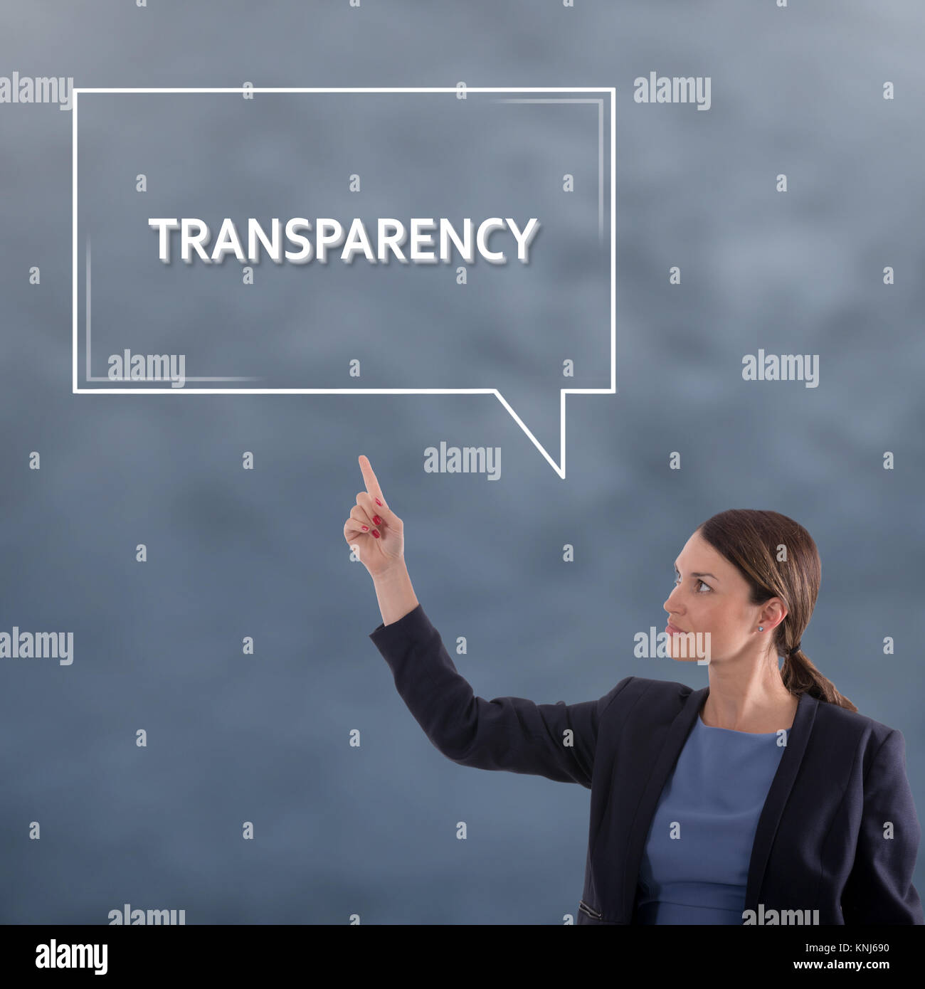 TRANSPARENCY Business Concept. Business Woman Graphic Concept - Stock Image