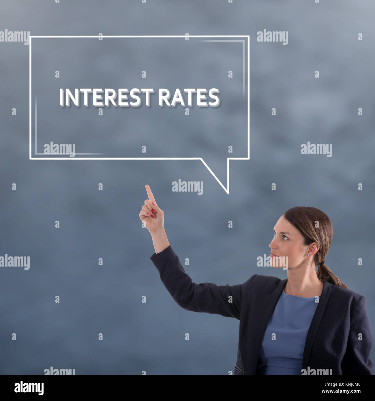 INTEREST RATES Business Concept. Business Woman Graphic Concept - Stock Image