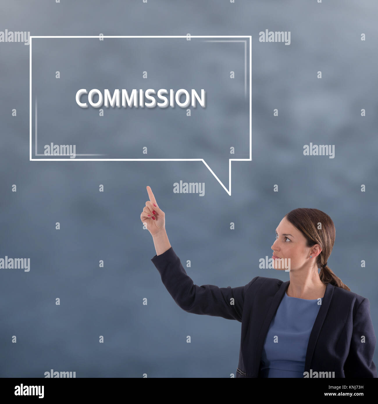 COMMISSION Business Concept. Business Woman Graphic Concept - Stock Image
