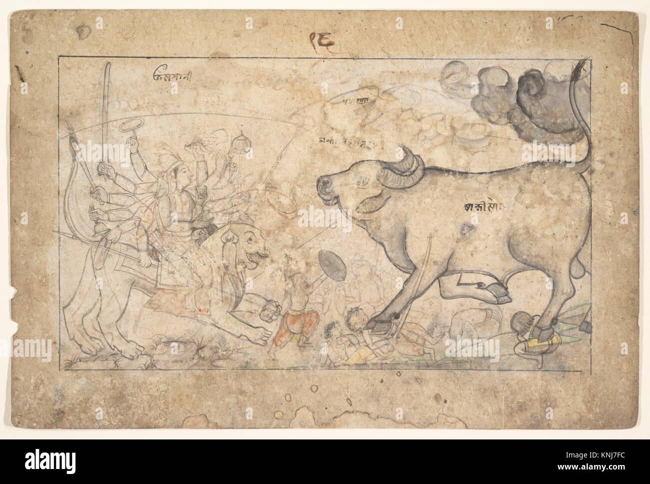 Durga Confronts the Buffalo Demon Mahisha: Scene from the Devi Mahatmya. Date: ca. 1780; Culture: India (Himachal - Stock Image