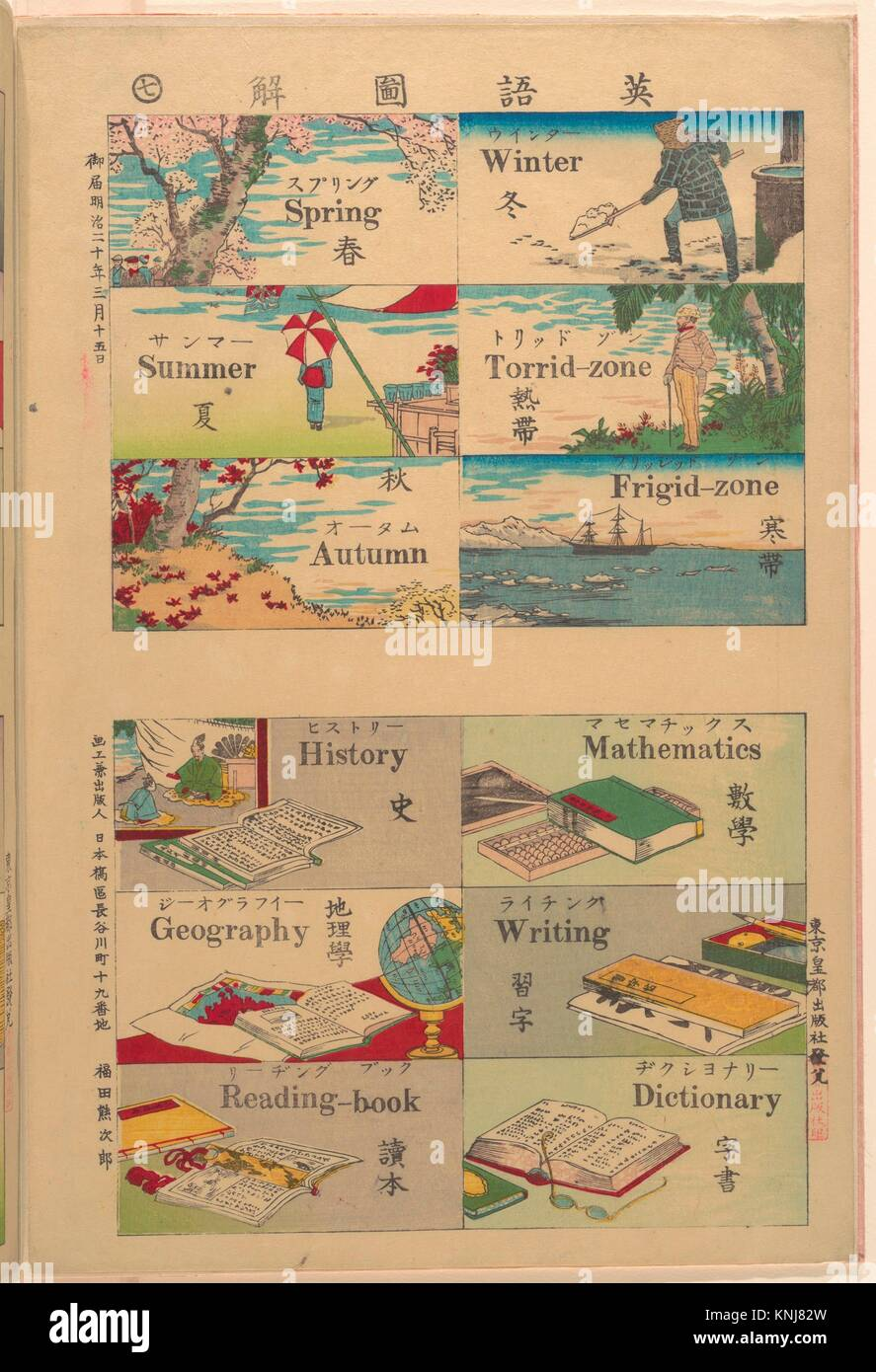 Pictorial Dictionary. Artist: Unidentified Artist; Period: Meiji period (1868-1912); Date: 1887; Culture: Japan; - Stock Image