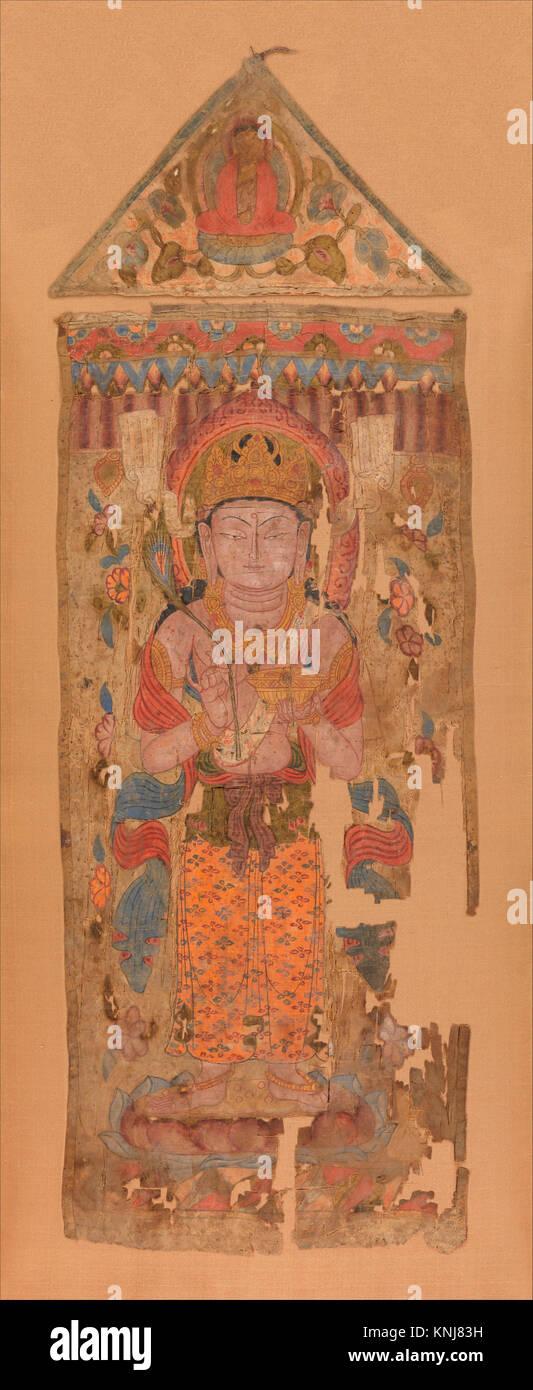 唐/五代 菩è-©åœ- 軸. Period: Tang dynasty - Stock Image
