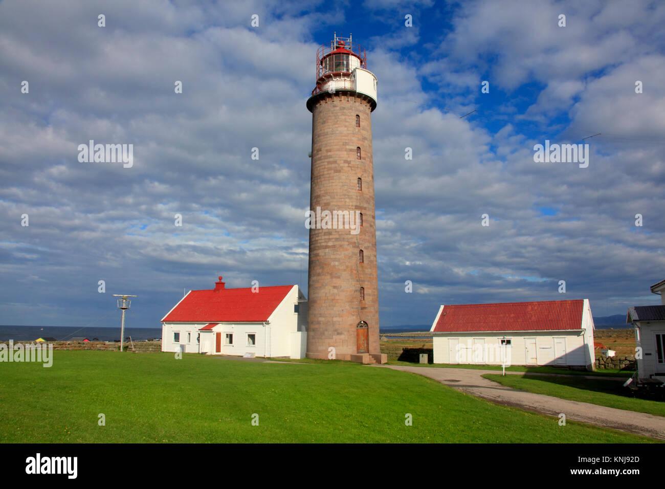 Lista Lighthouse, on the Lista Peninsula, village of Vestbygd, Farsund munincipality, Norway - Stock Image