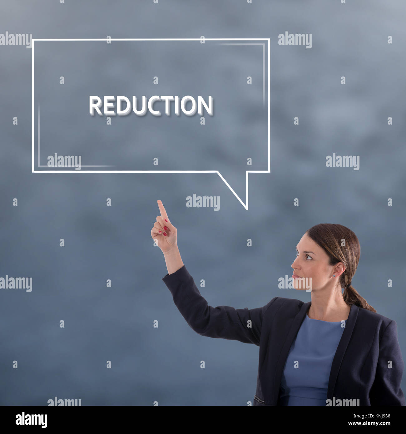 REDUCTION Business Concept. Business Woman Graphic Concept - Stock Image