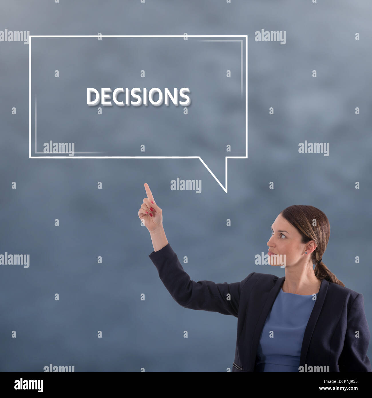 DECISIONS Business Concept. Business Woman Graphic Concept - Stock Image