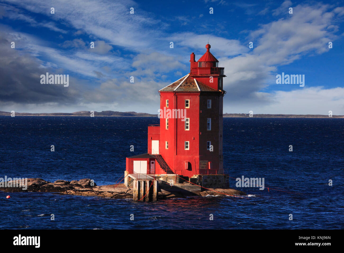 Kjeungskjaer lighthouse, located in municipality of Orland in Sor-Trondelag, Norway - Stock Image