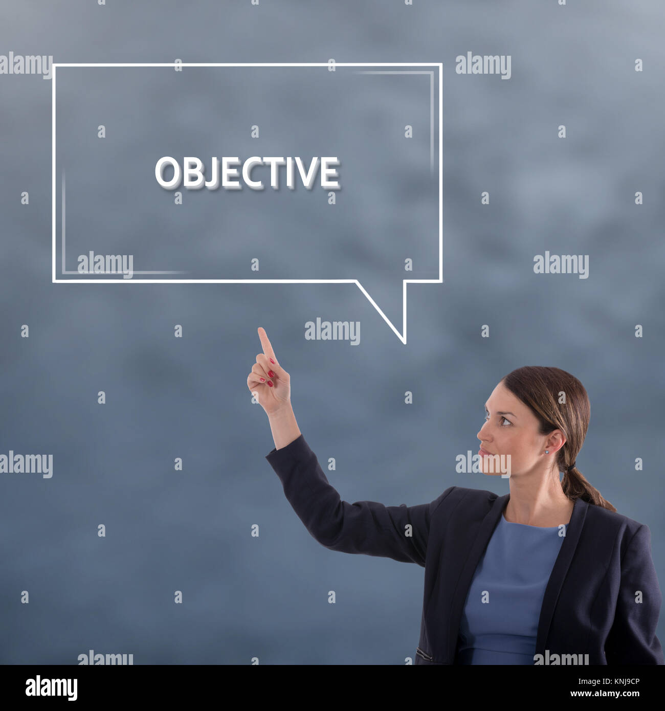 OBJECTIVE Business Concept. Business Woman Graphic Concept - Stock Image