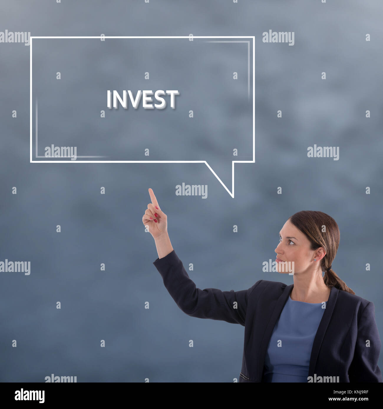 INVEST Business Concept. Business Woman Graphic Concept - Stock Image