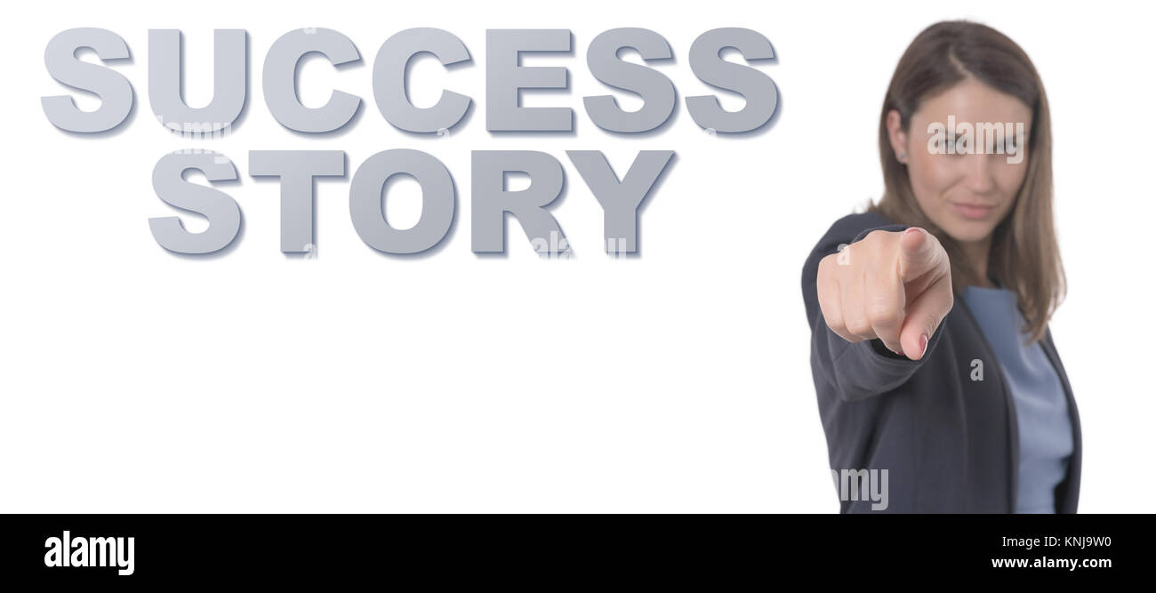 Business Woman pointing the text SUCCESS STORY CONCEPT Business Concept. - Stock Image