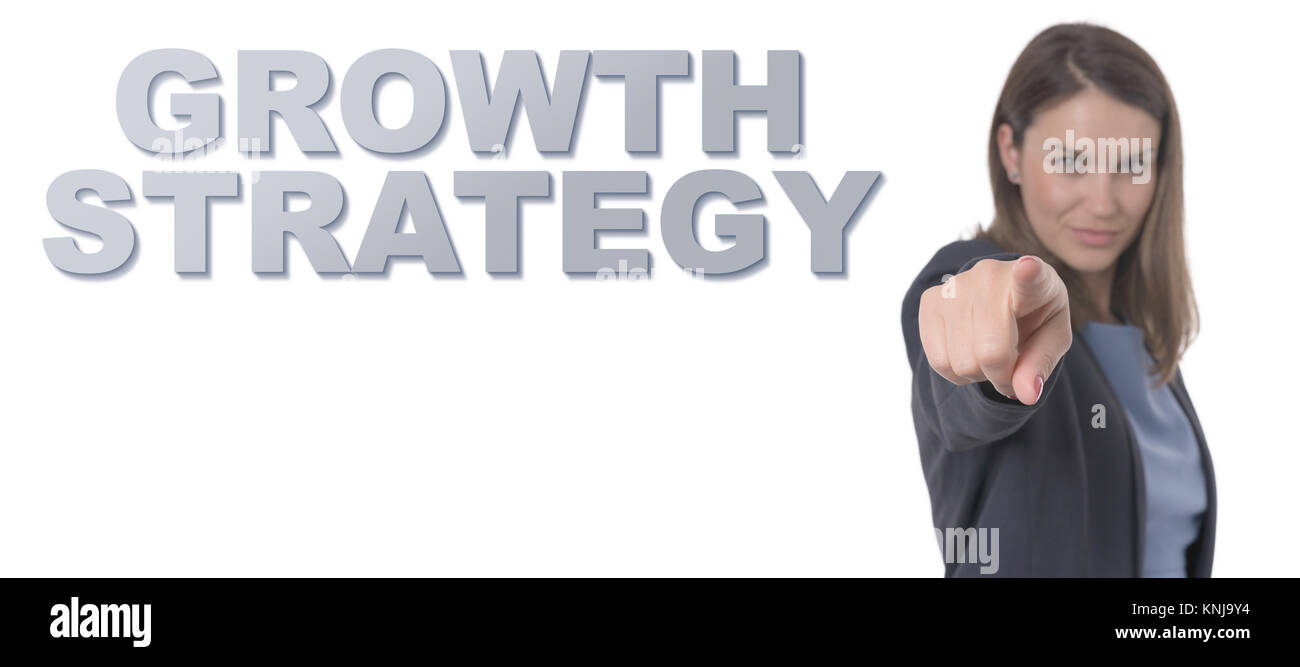 Business Woman pointing the text GROWTH STRATEGY CONCEPT Business Concept. - Stock Image