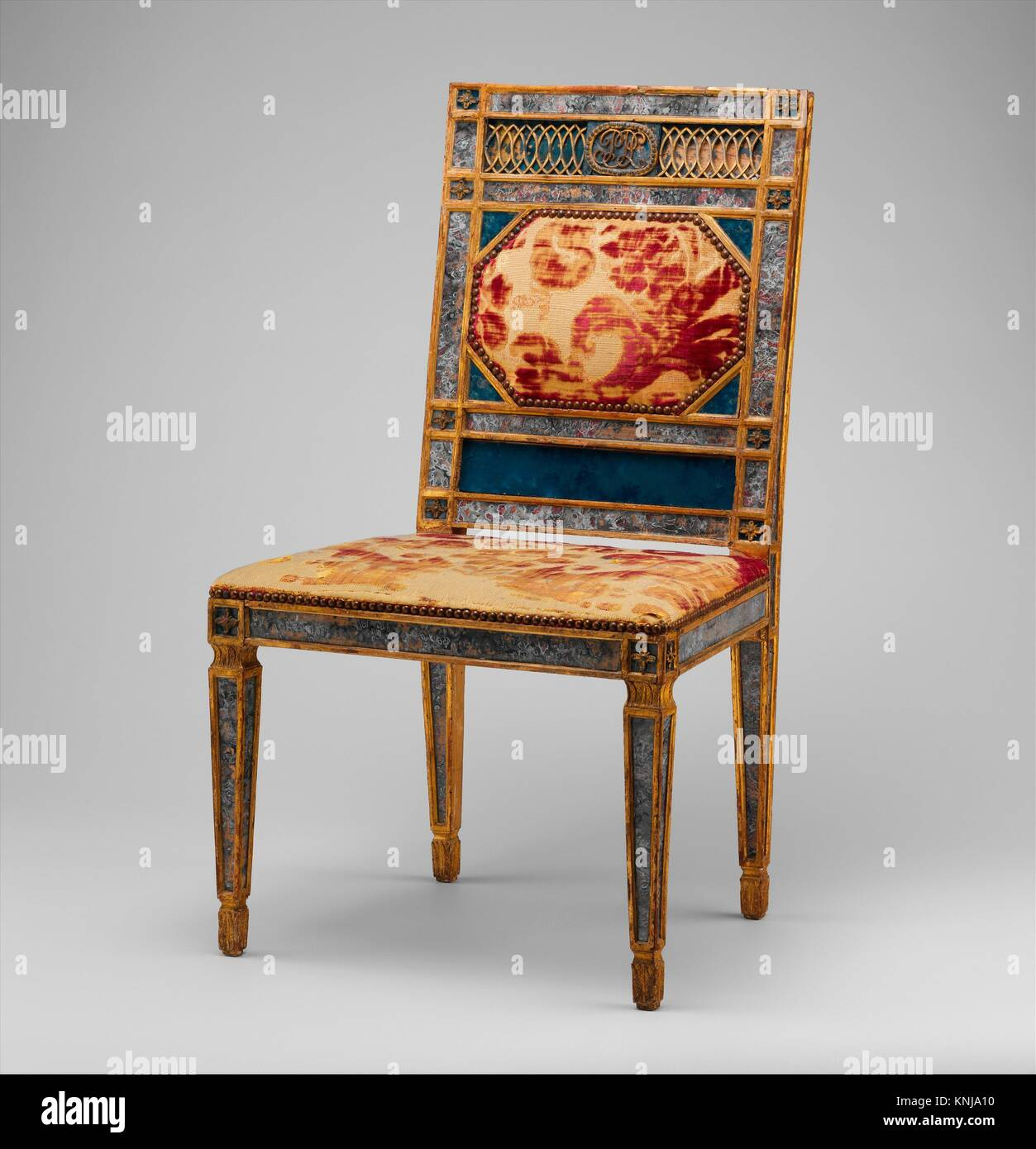 Side chair (part of a set). Date: ca. 1790-1800; Culture: Italian, Sicily; Medium: Carved, gilded and painted walnut, - Stock Image