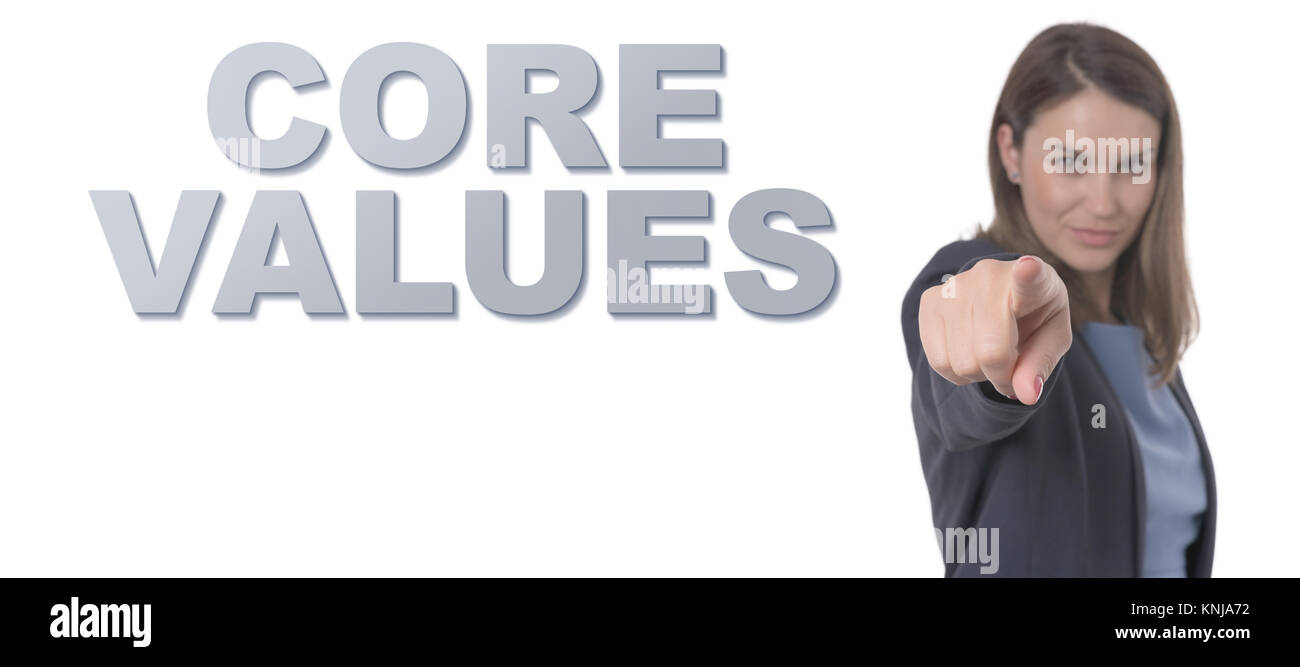 Business Woman pointing the text CORE VALUES Business Concept. - Stock Image