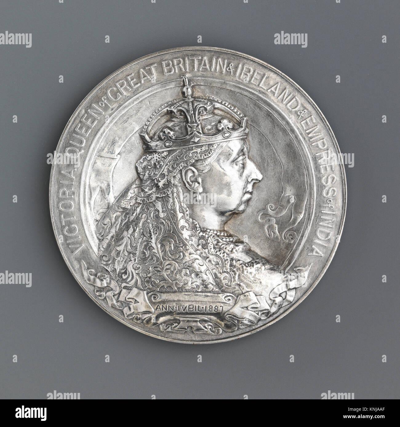 Art Union Jubilee. Artist: Medalist: Sir Alfred Gilbert (British, 1854-1934); Date: 1887; Culture: British; Medium: - Stock Image