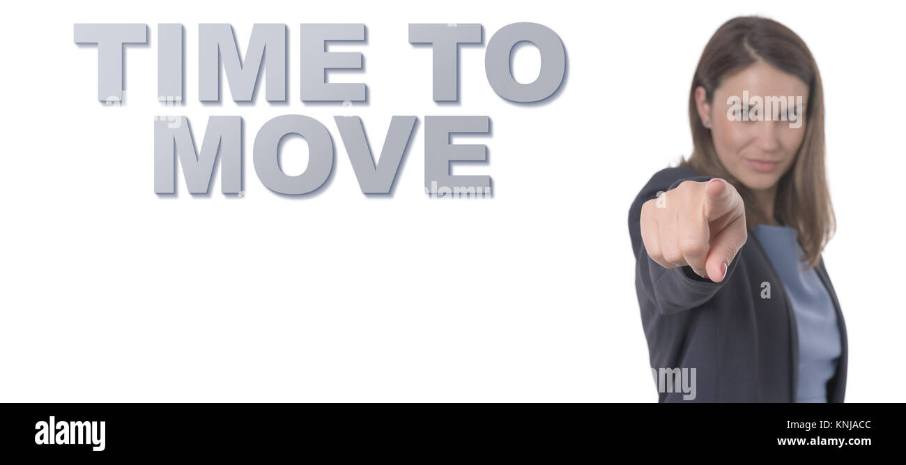 Business Woman pointing the text TIME TO MOVE CONCEPT Business Concept. - Stock Image