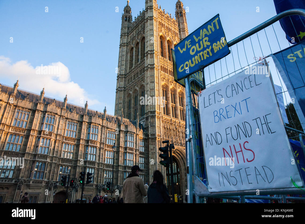 London, UK. 8th December, 2017. An anti-Brexit signs opposite the Palace of Westminster. - Stock Image