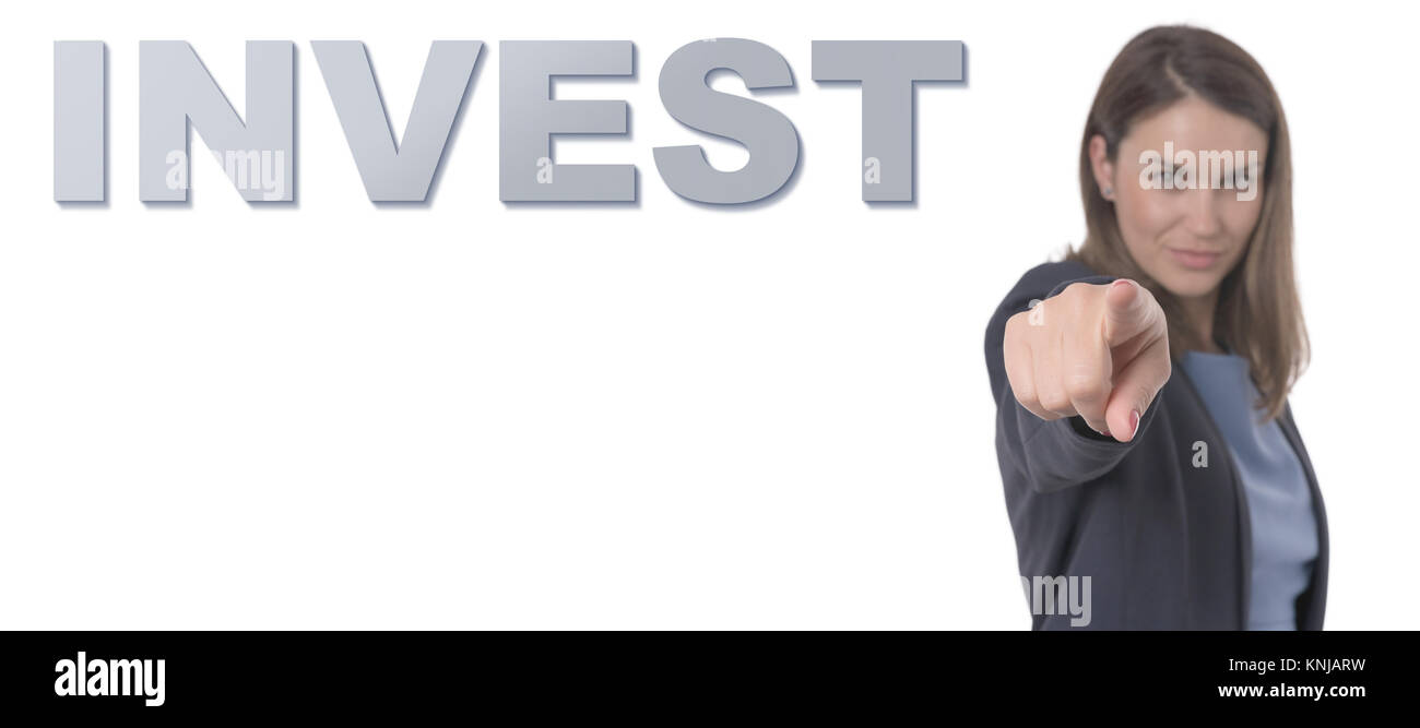 Business Woman pointing the text INVEST CONCEPT Business Concept. - Stock Image