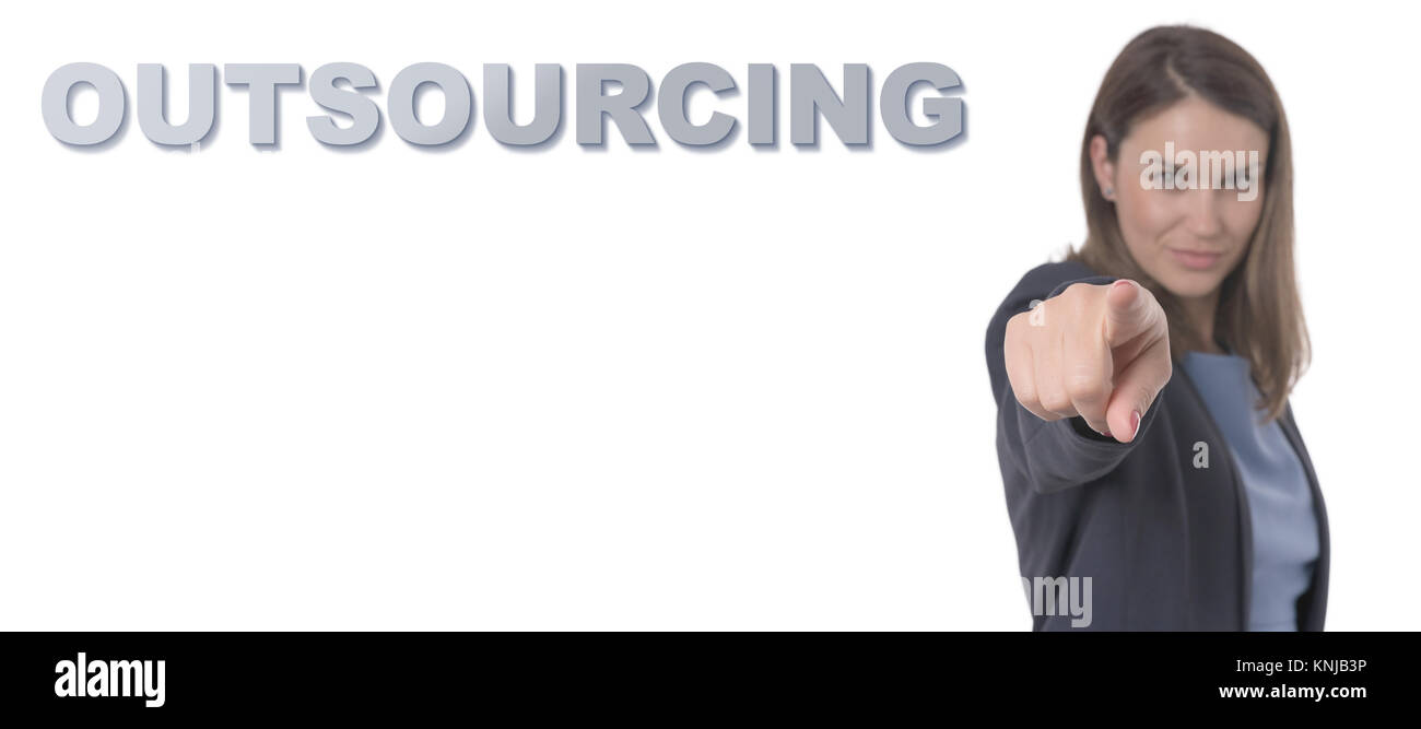 Business Woman pointing the text OUTSOURCING CONCEPT Business Concept. - Stock Image