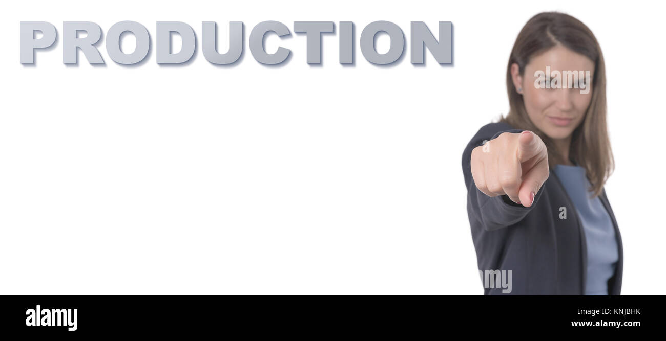 Business Woman pointing the text PRODUCTION CONCEPT Business Concept. - Stock Image