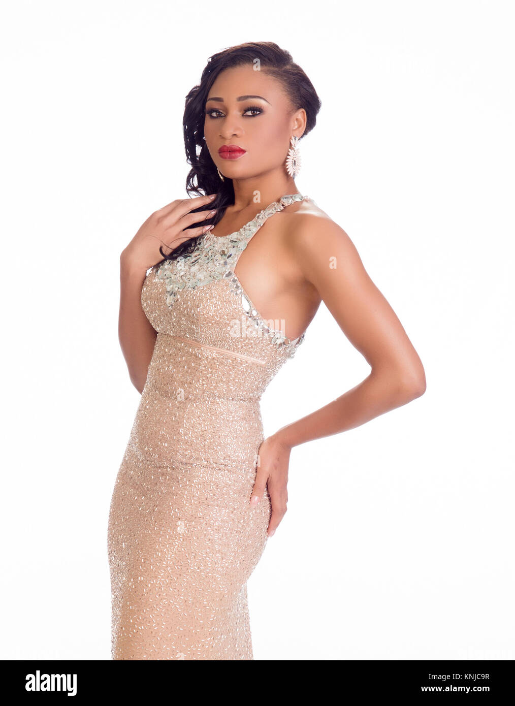 DORAL, FL - JANUARY 23: Queen Celestine, Miss Nigeria 2014 poses is her evening gown for The 63rd Annual MISS UNIVERSE - Stock Image