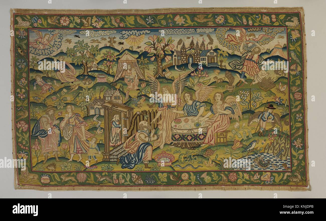 Scenes from the Story of Abraham. Date: mid-17th century; Culture: British; Medium: Linen worked with silk thread; - Stock Image