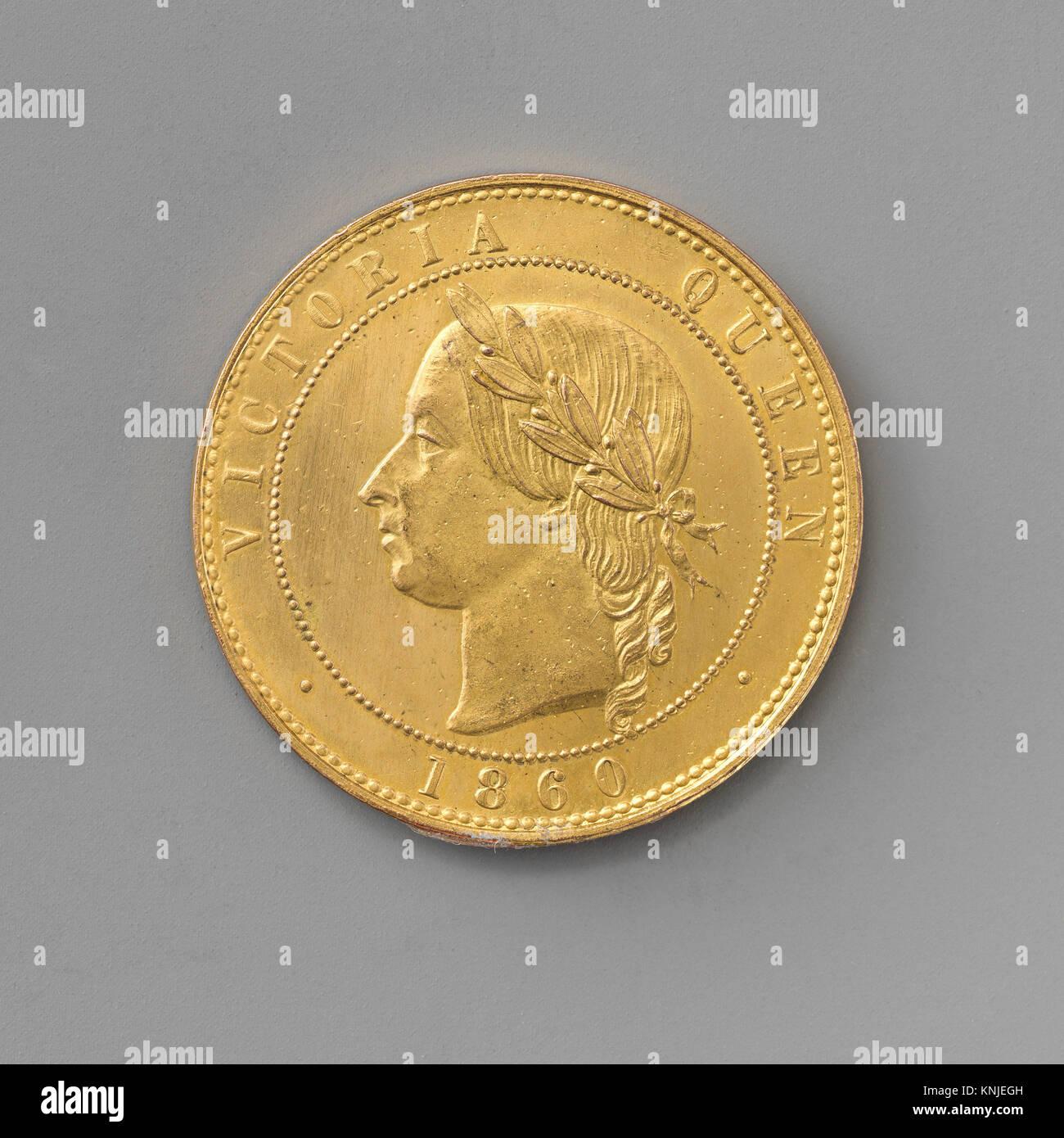 Pattern penny of Queen Victoria. Artist: Medalist: Joseph Moore (British, Birmingham 1817-1892 Birmingham); Date: - Stock Image